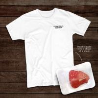 T-Shirt shrink-wrapped into a shape of a steak