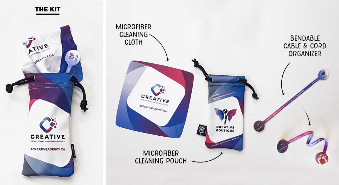Self Promotion that includes a microfiber cleaning pouch, microfiber cloth and a cord organizer