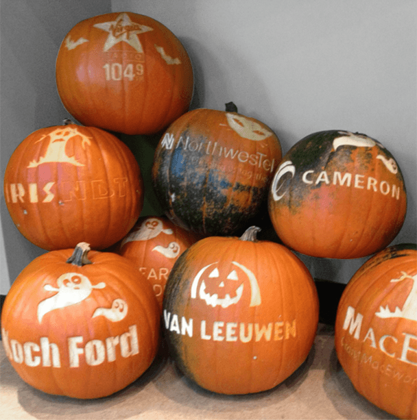 custom-decorated pumpkins for our corporate clients