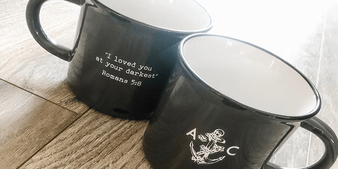 custom imprinted mugs sold as retail merchandise in online store