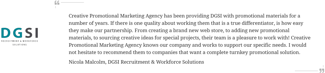 DGSI testimonial for Creative Promotional Marketing Agency
