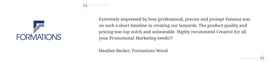 Testimonial from one of our clients, Formations, speaking the the level of service and quality of our promotional products campaigns