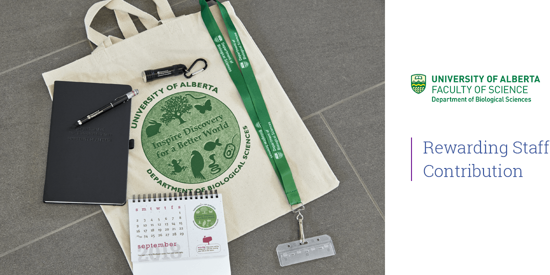 Promotional products bundle created for University of Alberta Biological Sciences for Rewarding Staff Contribution