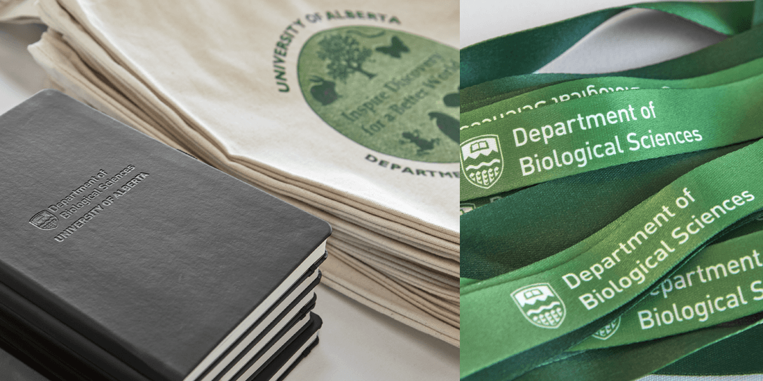 logoed notebooks, totes and lanyards from the University of Alberta marketing promotion