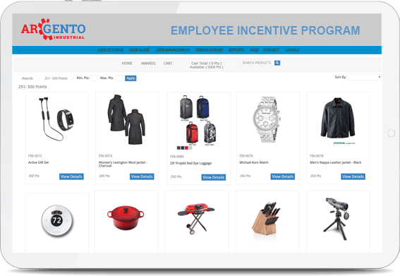 Screenshot of the Argento Employee Incentive Program