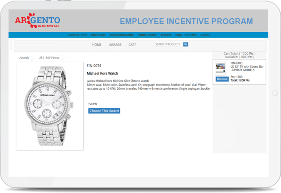 Screenshot of the Argento Employee Incentive Program where an employee has chosen a reward