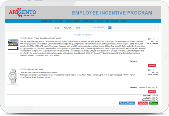 Screenshot of the Argento Employee Incentive Program where a user is going through the checkout process