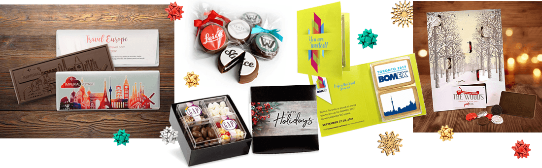 logoed chocolate cookies and other branded chocolate holiday gifts