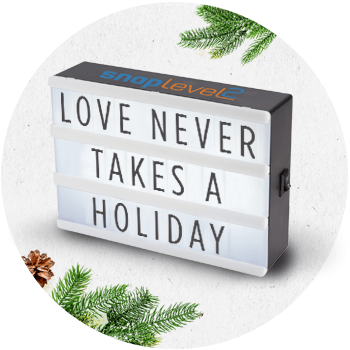 logoed light box with a holiday message