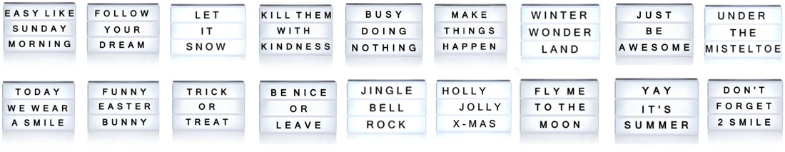 message ideas to arranged in the cinema light box holiday gift
