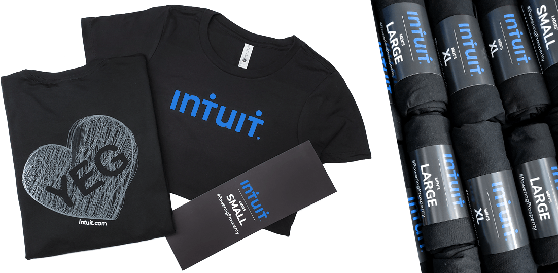 Picture of the Intuit custom t shirt, front and back with a belly band that wraps around the folded shirts for best presentation and easy packaging