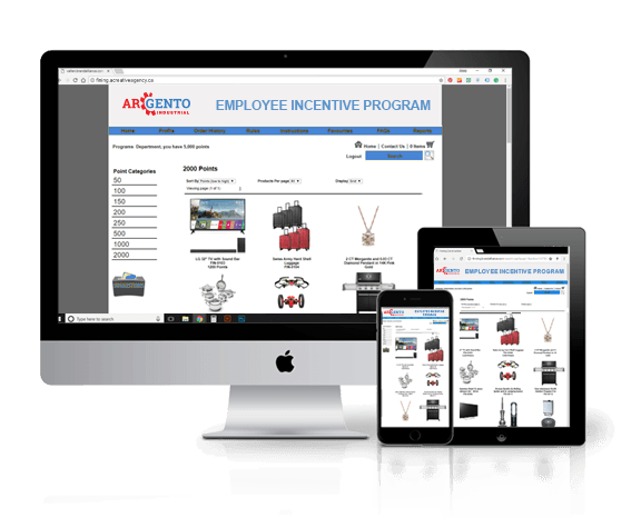several screens showing a responsive website for the Employee Incentive Program for Argento Industrial