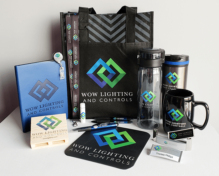 Promotional products kit created for the new brand launch for WOW Lighting