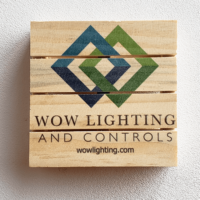 wooden palette coaster with WOW Lighting logo in full color