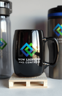 drinkware - mug, water bottle and tumbler imprinted with the new logo