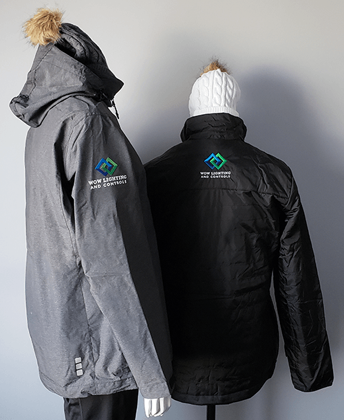 Ladies' and men's jackets embroidered with a logo