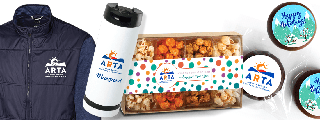 ARTA logoed jacket, water bottle, and holiday chocolates and cookies