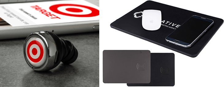 wireless earbuds and a wireless mouspad that also charges a smartphone
