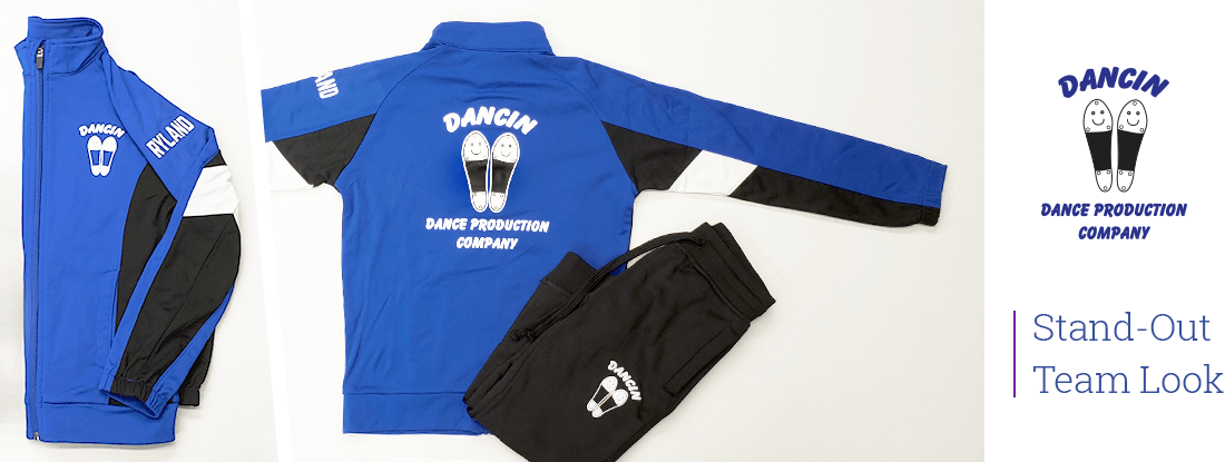 Dancin jacket and track pants with the logo on both items