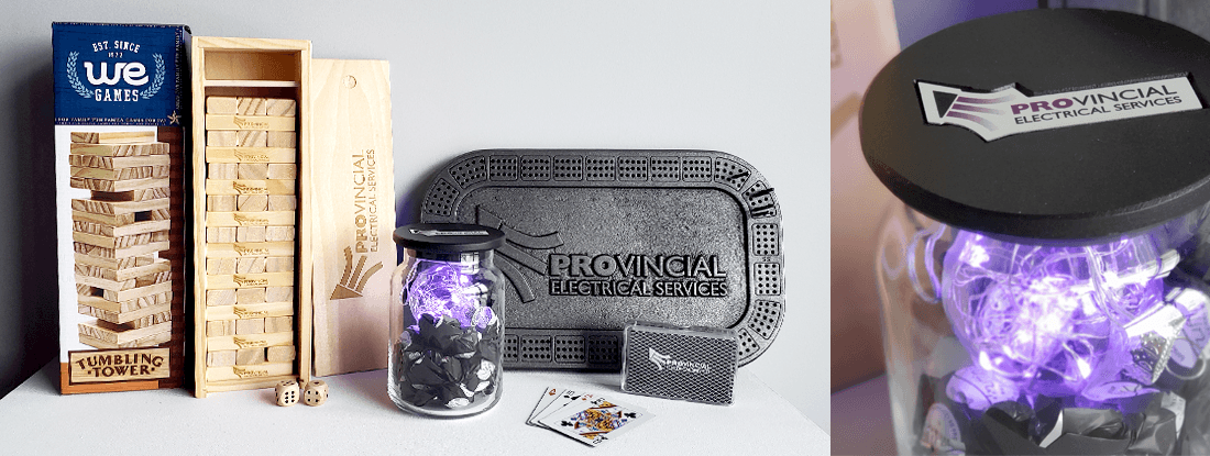 Custom games and light up candy jars created valued client gifts for this promotional product campaign
