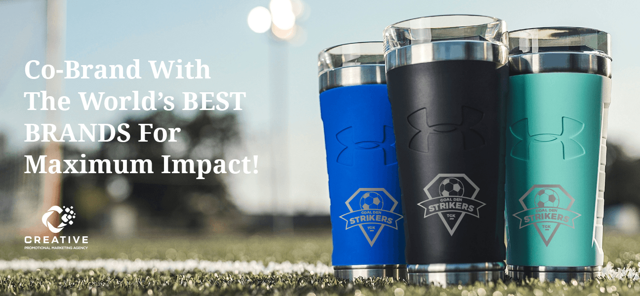 Under Armour Thermos Tumblers with a soccer team's logo