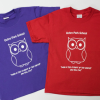Ochre Parck School student of the month t-shirts promotional project