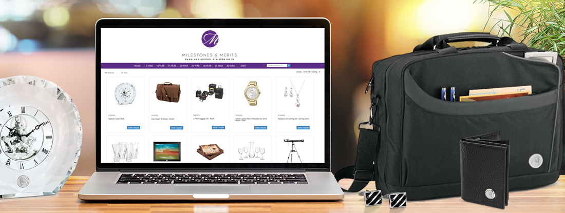 milestones & merits online pop up store full of promotional products made for Parkland