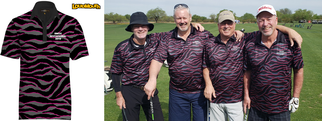 AEDARSA golf tournament team in unique Loudmouth custom golf shirts embroidered with their message