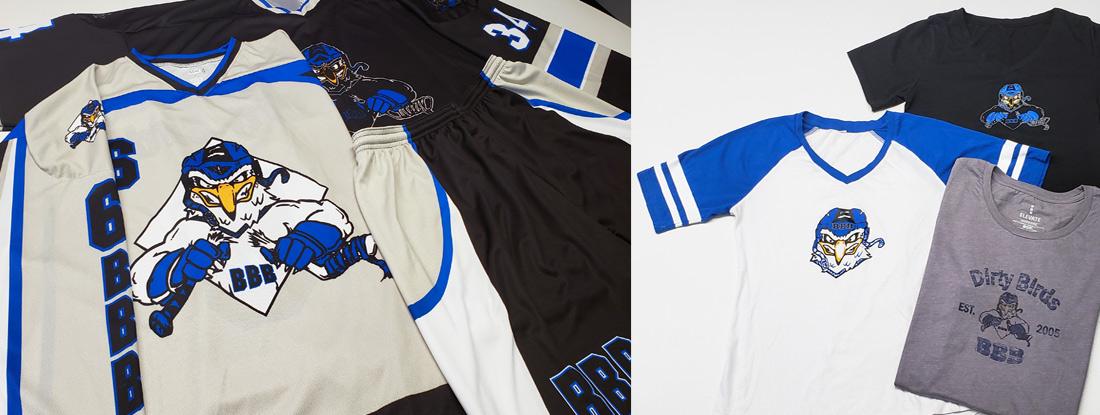 Dirty Birds ball hockey team wear and team apparel
