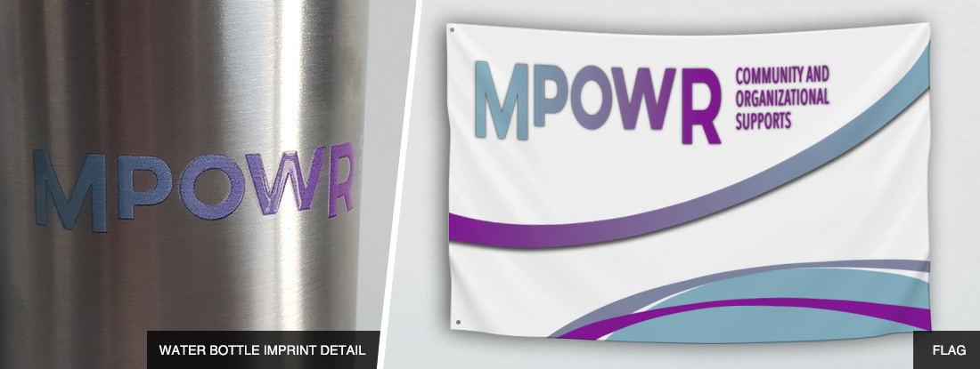 detailed shot of the imprint on a water bottle and custom made flag for MPOWR