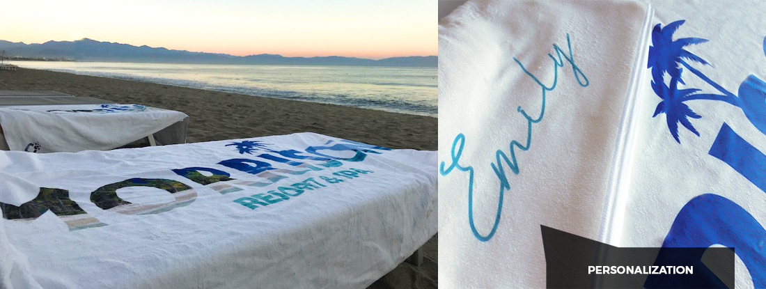 custom-made towels personalized with names of the recipients