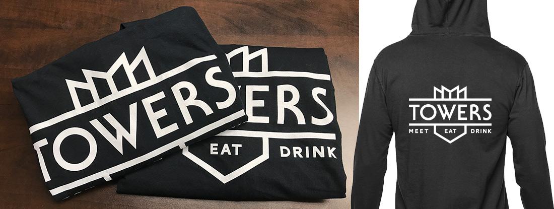 custom-imprinted black sweatshirt made for Towers pub