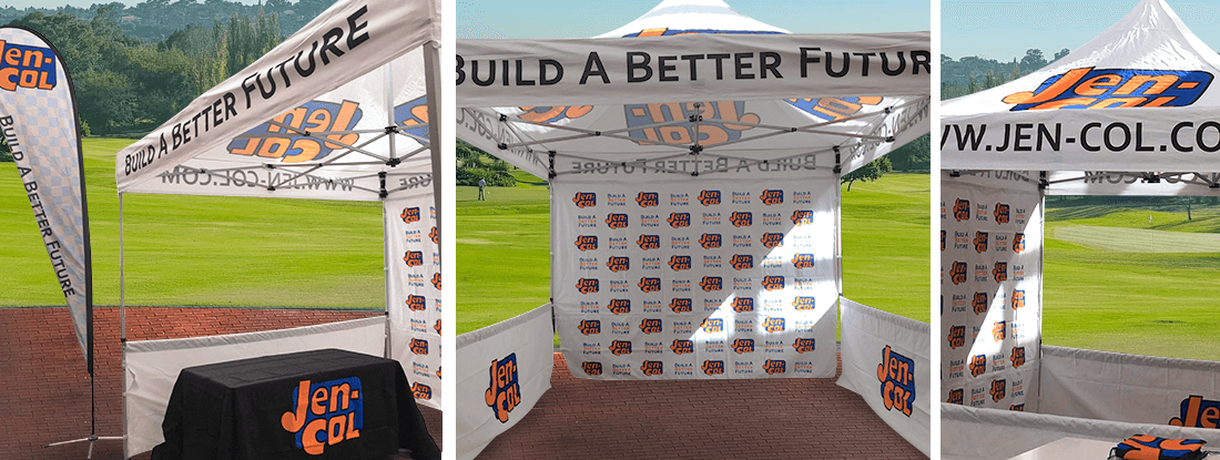 logoed tent, table cloths and flags for a tradeshow or golf tournament