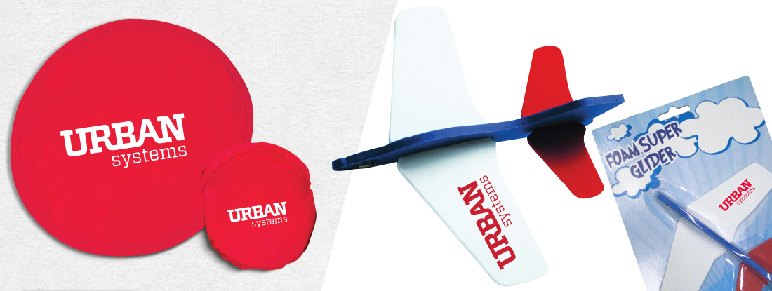 Frisbees and flyers imprinted with the client's logo