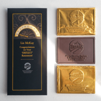 branded chocolates created as a corporate party favours