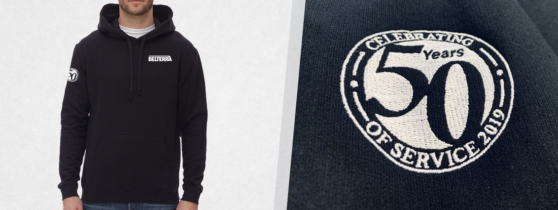 hoodies embroidered with a logo and 5oth anniversary logo