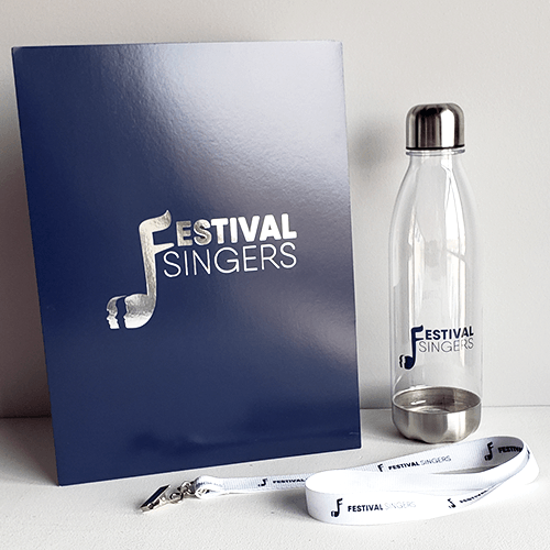 Not-for-profit welcome package including a branded water bottle, lanyard and folder