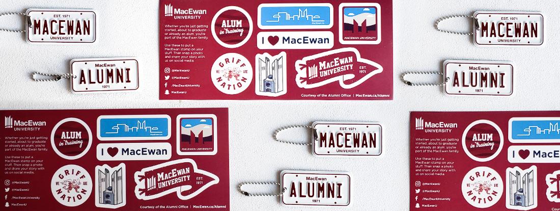 MacEwan University Alumni license plate keychains and decals