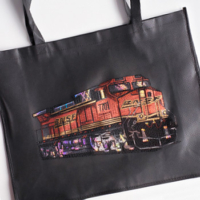 black tote with sparkle imprint