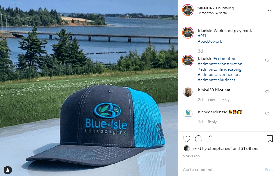 branded caps for a landscaping company