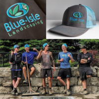branded hats and jackets for a landscaping company