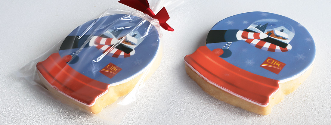 custom-made cookie with customer's logo for a holiday gifting promotion