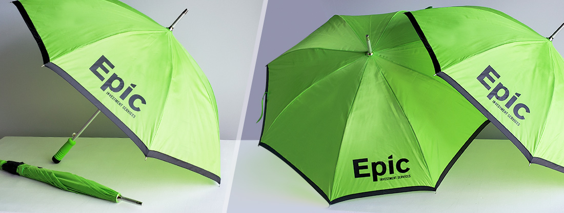 logoed umbrellas for a property management firm