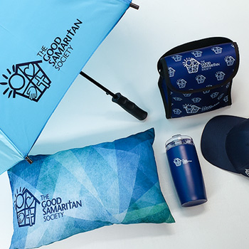 branded merchandise including umbrella, custom pillow, tumbler, lunch box and a logoed hat