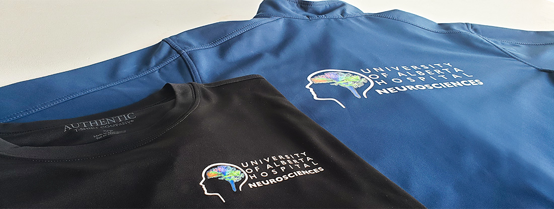 branded shirts and jackets with a colorful logo