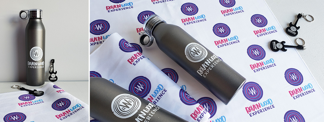 logoed water bottles, keychains and bandanas for a music festival swag promotion