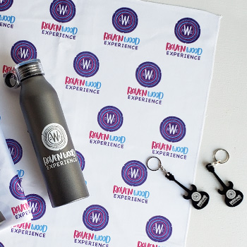branded bottles, bandanas and keychains created for a music festival