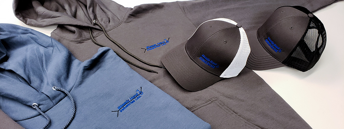 embroidered logo on hoodies and hats