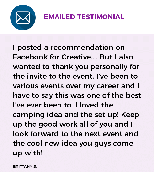 emailed testimonial from a client