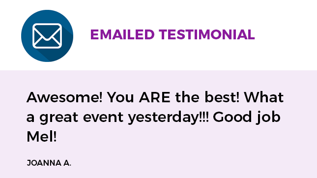 emailed testimonial about Camp CREATIVE